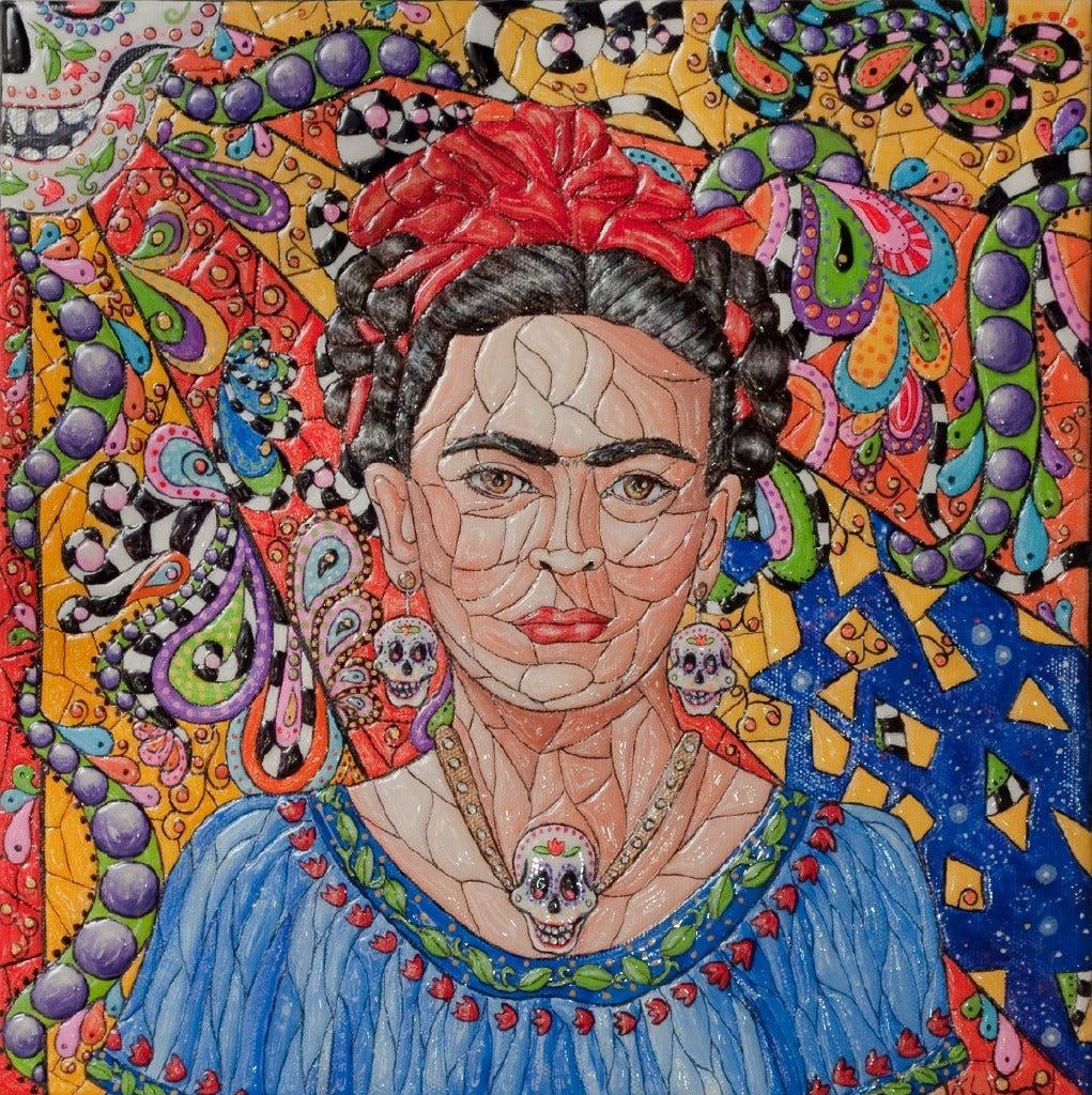 frida kahlo original painting portrait mosaic texture. Black Bedroom Furniture Sets. Home Design Ideas