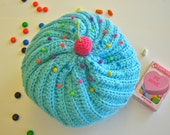 Cupcake Hat With Sprinkles in Aqua Frosting and Chocolate Cake