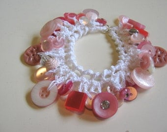 Bracelet of Dangling Vintage Buttons in Crochet - Shades of Pink - READY TO SHIP
