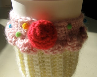 Strawberry Cupcake Crochet Cup Cozy