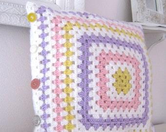Lizbeth...Crochet Retro Pillow Cover- Made To Order