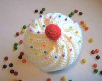 Cupcake Hat with Sprinkles in Chocolate and Cream Frosting - Made To Order