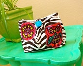 Zebra Owly Clutch - you choose the lining and closure-
