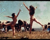 Naked dancing mountain girls with Cows Vintage fine Art photography