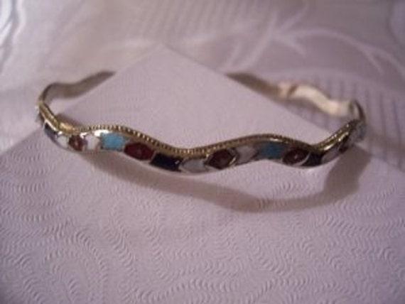 Gemstone Wave Bracelet  Silver Tone Vintage Bangle Blue Brown Red White