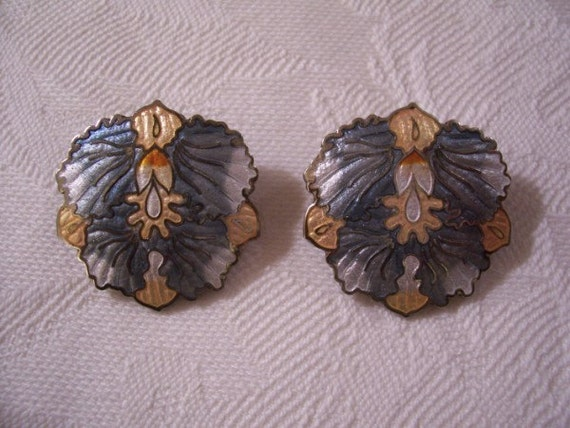 Blue Orange White Clip On Earrings Silver Tone Vintage Cloisonne Abstract  Accents