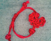 Reserved for BelleMomSteph - Mystic Knot Butterfly Bracelet with Celtic Knot Accents, Red Satin Cord