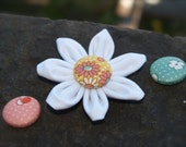 Fabric Flower Hairclip - Choose your button color