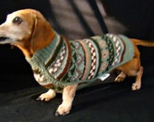 Fair Isle Handknit Dachshund Dog Sweater - Mock Turtleneck, Green Sage Multi Colored, Small