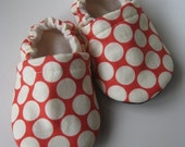 baby shoes, suede bottoms, red polka dot