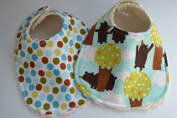 Baby bib, set of 2, bears in the forest, natural chenille back