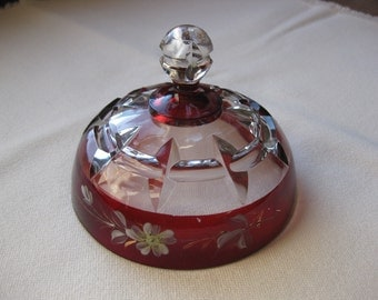 Old Antique Early American Pattern Glass-Butter Lid only-Ruby Flash Stained-Hand Painted