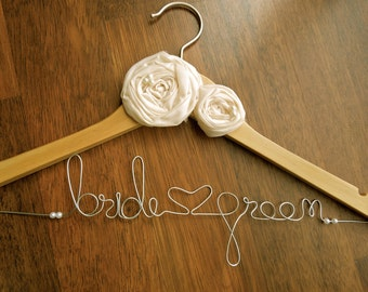 Custom Bridal Hanger for Bride,Groom,Bride maids Birthdays..with rosette