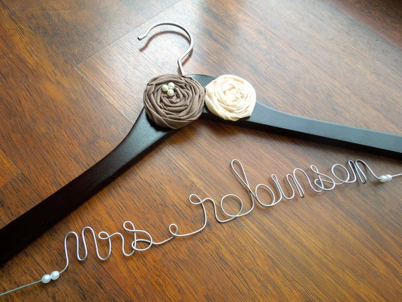 Personalized wedding dress hanger for bride or by ivision for Personalized wedding dress hangers