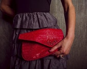 Red Alligator Vintage Fanny Pack Silver Studs & Chain vinyl fake leather