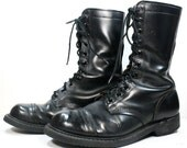 Vintage grunge granny COMBAT army boots militarty oil proof black oxford jump pixie lace up 11 womens 9.5 R mens