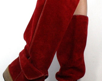 Vintage italy supple leather riding tall knee high pirate women low heel suede red fashion boots 6 B M