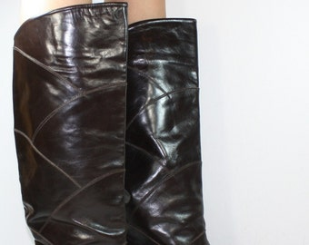 Vintage Charles David dark brown womens boots fashion knee high tall leather Italy 6.5 M B