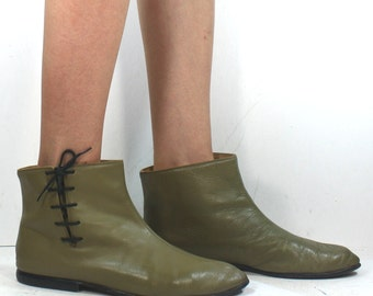 Vintage Green riding ankle short lace up Sweden womens Leather flats fashion boots 6 M B