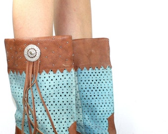 Vintage cowboy cowgirl indian stud tassel brown low heel knee high tall western womens Leather blue woven fashion boots 8.5 M B