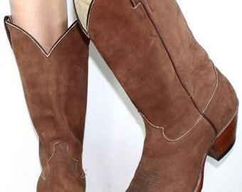 Vintage cowboy brown Justin low heel mid calf western mens Leather boots 9.5 D M