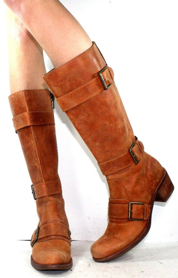 Vintage riding knee high tall womens buckle Leather low heel fashion campus oxford brown boots 5 M B