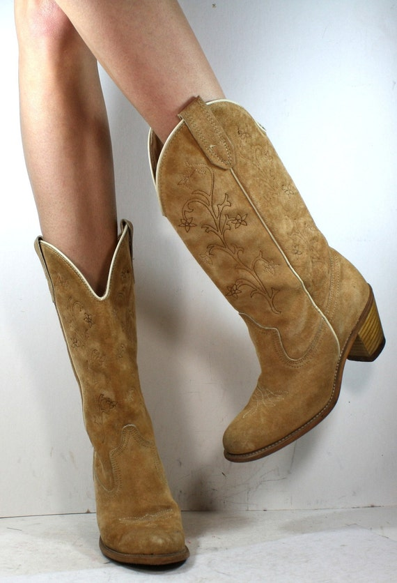 Vintage brown tan low heel cowboy suede mid calf flower womens Leather fashion boots western womens 6 N A