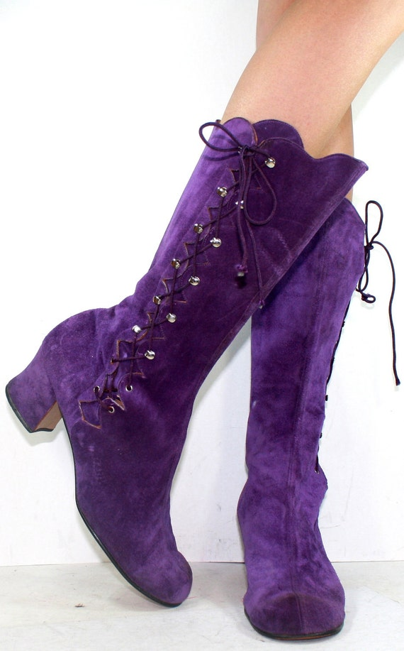 Vintage high heel suede purple mid calf tall slouch womens tano Spain Leather fashion lace up boots 9