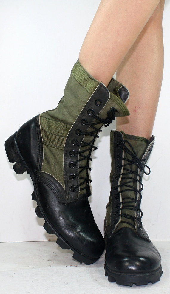 Vintage grunge granny Vietnam War 1966 Jungle Boots COMBAT army green militarty black oxford pixie lace up mens 9 womens 10.5 M B