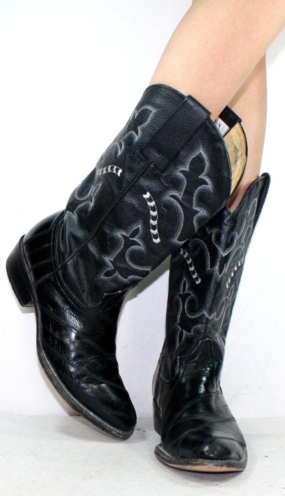 Vintage white black heel cowboy mid calf Leather eel skin fashion western boots 10 M B womens 8.5 D mens