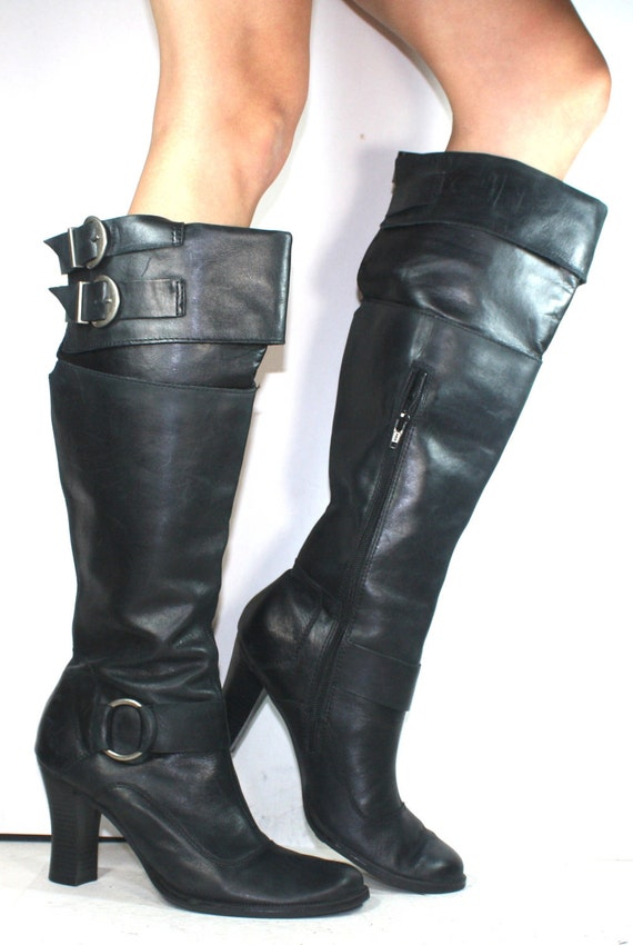 Vintage campus fashion black high heel zip up tall buckle womens Leather boots 10 B M