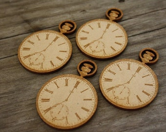 Pocket Watch in MDF. Laser cut brooch supply  - 4 pieces