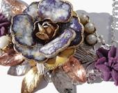 Purple beauty vintage collage necklace