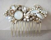 Bridal wedding ivory white glamour Swarovski rhinestones and vintage shabby chic haircomb
