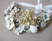 Bridal necklace - bib wedding statement -  romantic vintage jewelry collage - One of a kind couture collection