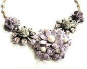 Bridal necklace lilac lavender shabby chic vintage collage wedding jewelry - bridesmaid gift