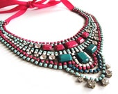 Rhinestone necklace bib statement in hot pink mint and emerald - painted vintage rhinestone art deco piece