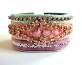 Rhinestone cuff bracelet in  pastel pink and mint - bridesmaids gift - romantic wedding bridal bracelet  - vintage style