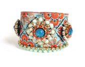 Bohemian hippie bracelet - turquoise and orange cuff - sparkling swarovski rhinestones and indian inspired trim