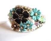 Turquoise wedding bracelet - shabby chic vintage flowers and rhinestones - bib statement design