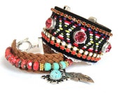 Bohemian hippie bracelet in ethnic navajo native american style - friendship cuff - rhinestones and studs - vintage trim