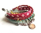Bohemian hippie bracelet - pink and turquoise beads and friendship bracelet - gypsy style - multiple strands