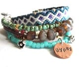 Bohemian hippie bracelet - gypsy style - friendship bracelet and glass beads in teal and turquoise with sparkling rhinestones