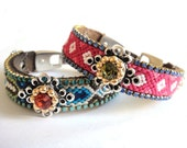 Stackable Bohemian Hippie Rhinestone friendship bracelet in hot pink, blue and olive - gypsy style