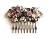 Wedding hair comb in amethyst purple and rosaline pink Vintage rhinestones - bridal hair piece - glamorous sparkling Swarovski