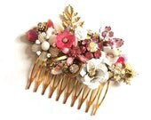 Pink bridal hair comb - wedding hair accessory - wedding haircomb - shabby chic vintage collage head piece