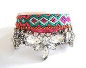 Bohemian hippie rhinestone friendship bracelet cuff in jewel tones - emerald purple mint tangerine - sparkling gypsy