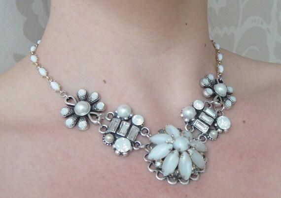 Bridal necklace rhinestones - glamour wedding - vintage collage - swarovski and pearls