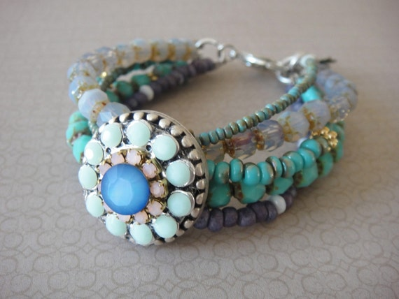 Bohemian hippie bracelet - Beaded multiple strands - seagreen mint and lavender and sparkling rhinestones