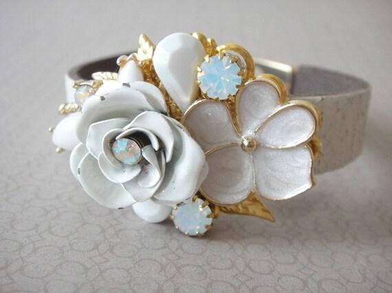 Wedding bracelet -  bridal shabby chic wedding - white and gold  - bridesmaids vintage collage